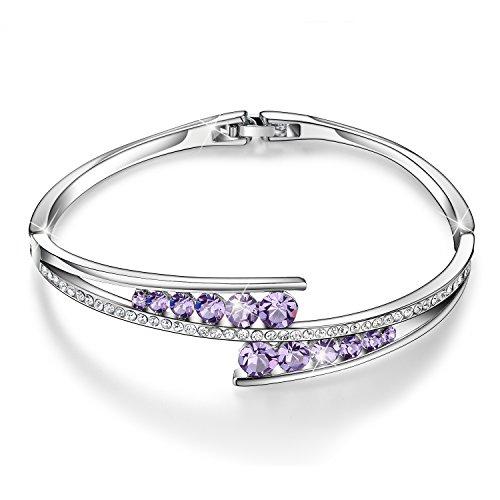 Menton Ezil Love Encounter Purple Amethyst White Gold Plated Bracelet Fashion Jewelry for Her Anniversary