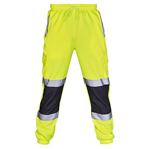 Dwqlx Trabajo para Hombres Overoles Ocasionales Trabajo de Bolsillo Pantalones Casuales Pantalones Impermeables-Amarillo_M