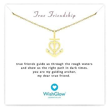 Friendship Necklace Heart Anchor - Best Friend Gift for Women Birthday  Gold