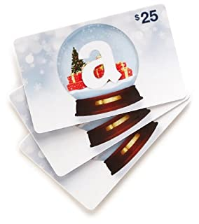 Amazon.com $25 Gift Cards, Pack of 3 (Holiday Globe Card Design) (B005ESMEI4) | Amazon price tracker / tracking, Amazon price history charts, Amazon price watches, Amazon price drop alerts