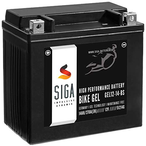 SIGA Gel Motorradbatterie 12V 14Ah 270A/EN Gel Batterie YTX14-BS GEL12-14-BS YTX14-4