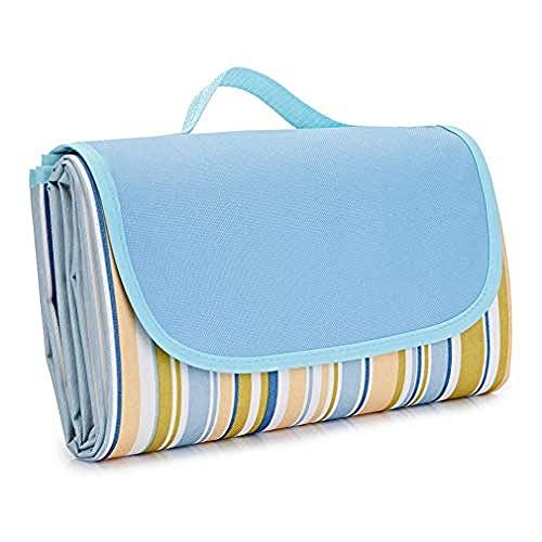 Manta de picnic al aire libre, alfombrilla de picnic extragrande impermeable, manta portátil para exteriores con respaldo impermeable para acampar en la playa, parque familiar, azul_200 × 200 cm