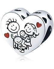 """LaMenars """"Love Mom Family Tree Infinity Heart"""" ciondoli per braccialetti, perline multicolori in argento sterling 925, adatti a collane con bracciale, regali di compleanno per donne"""