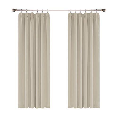 Amazon Brand – Umi Cortinas Termicas de Salon Dormitorio Anti Ruido para Ventana de Habitaciones Opacas Aislantes Luz 2 Piezas con Fruncido 117 x 183 cm Beige Oscuro