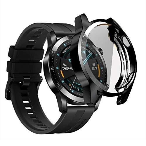 LGFCOK Funda de reloj para Huawei Watch GT 2 de 46 mm, silicona suave, TPU para reloj, accesorios para GT2 de 42 mm, TXTB1 (color: negro, tamaño: 46 mm)