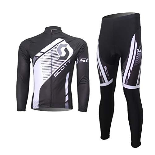 Abbigliamento Ciclismo Uomo Set Abbigliamento Ciclismo da Uomo,Maglia Manica Lunga+Pantaloni Lunghi,Cuscino Gel 3D,Moda Set Completo,Abbigliamento Sportivo per Bicicletta,Ciclismo Ciclismo Jerseys per