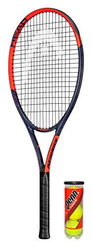 HEAD Ti.Reward Raqueta de tenis de titanio incluye cubierta protectora y 3 pelotas de tenis (disponible en tamaños de agarre 1 a 4) (L4 (4 1/2 pulgadas)