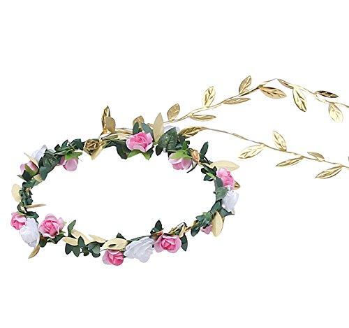 Floral Fall Cute Girls Boho Flower Headband Garland Festival Golden Crown Hair Band (Pink Flower)