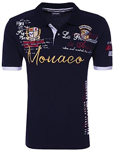 behype. Herren Kurzarm Polo-Shirt Monaco T-Shirt 20-3040 Navy L