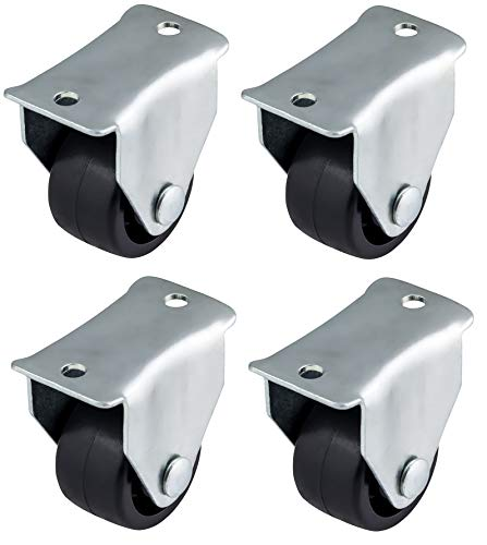 Menge: Bulldog Castors Mini-Rollen für Möbel, Geräte und Ausrüstung, klein, Kunststoff, Schwarz, max. 50 kg pro Set