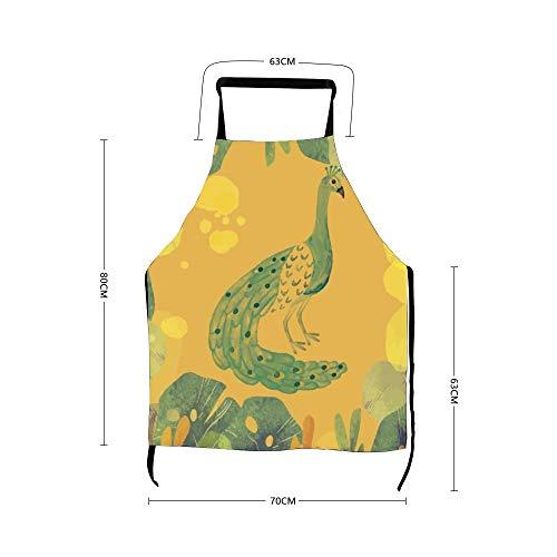No marca Visual Arts pintura de pavo real patrón verde novedoso, delantales divertidos para hombres y mujeres cocinando limpieza disfraz de criada