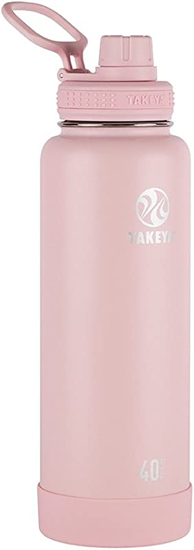 Takeya Actives Insulated Stainless Water Bottle With Insulated Spout Lid 40oz Blush