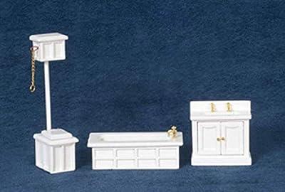 Town Square Miniatures Dolls House Miniature 1:24 Scale White Victorian Bathroom Furniture Set Suite