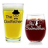Godparent Gifts Godfather Pint Beer Glass Godmother Stemless Wine Glass Gifts for Godparents 16 and 15 Ounces