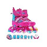 Sljj Patines En Línea, Patines De Niños Patines De Ruedas Ajustables Patines Juego Completo Full Flash 3-12 Años (2 Colores) (Color : Pink, Size : M (35-38 Yards) 8-12 Years Old)