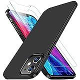 RANVOO iPhone 12 ケース iPhone 12 pro ケース 最新薄型 軽量 ケース「日本旭硝子製ガラスフィルム2枚付き」シンプルデザイン マット質感仕上げ iPhone 12 /proカバー「セット」指紋防止 擦り傷防止 耐衝撃カバー 6.1インチ対応 高級感 (艶消しブラック夜空黒)