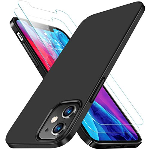 RANVOO Compatible with iPhone 12 Case, iPhone 12 Pro Case with 2 Screen Protectors, Ultra Slim Thin [Anti-Fingerprint] Hard Plastic Great Grip Matte Finish Cover for iPhone 12/12 Pro 6.1 inch- Black