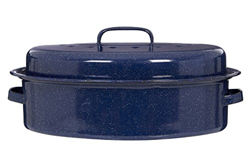 Premier Housewares Oval Self Basting Roaster Enamel, Carbon, Blue, 27 x 37 x 10 cm