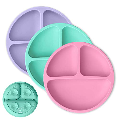Hippypotamus Toddler Plates with Suction - Baby Plates - 100% Silicone Divided Plate - BPA Free - Microwave Safe Dishes - Set of 3 (Pink/Mint/Lavender)