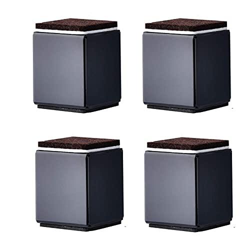 Elevador de muebles de acero al carbono, para muebles, de 5 cm de altura, 4 patas para elevar armarios (negro, 40 x 52 mm)