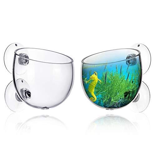 XunHe Taza para plantas acuáticas, 2 unidades, mini maceta de cristal transpirable, taza de cultivo para plantas acuáticas con potente ventosa para soporte acuático, accesorio para acuario