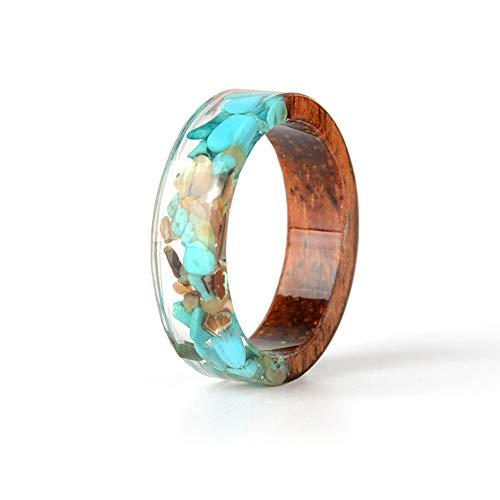 Homeofying NG0257 - Fasce per dita in legno di resina, stile vintage, vintage, retrò, stile country, da donna, colore: blu e verde