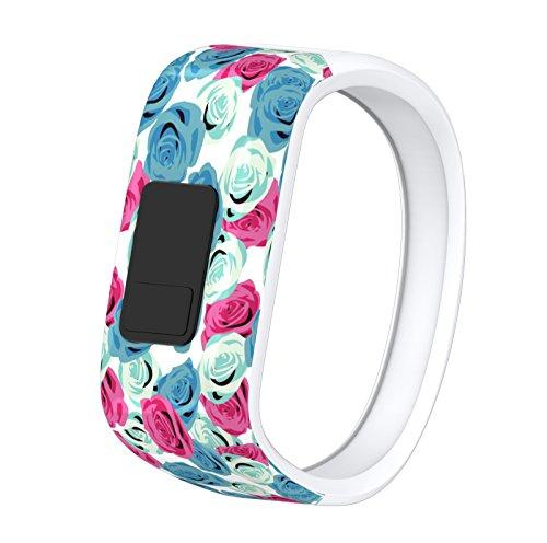 ANBEST - Cinturino per orologio Garmin Vivofit 3, in morbido silicone, per Garmin Vivofit JR/Vivofit JR 2 Tracker per bambini (Flowers,S)