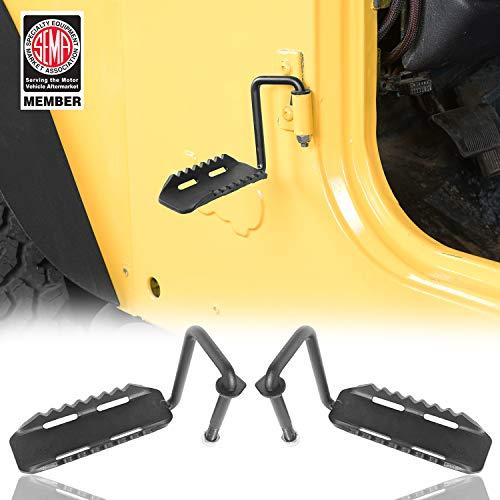 Hooke Road Wrangler Foot Pegs, Door Hinge Foot Rest Compatible with Jeep TJ Wrangler 97-06
