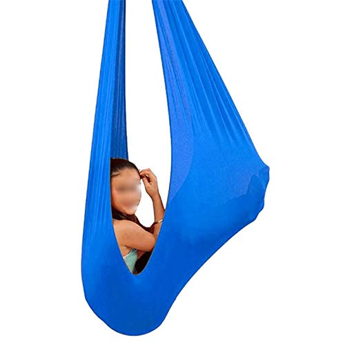 YXYH Kids Therapy Swing Breathable Mesh Hammock Indoor Physical Therapy Swing Children with Special Needs for Autism ADHD Asperger's Syndrome (Color : Blue, Size : 100x280cm)