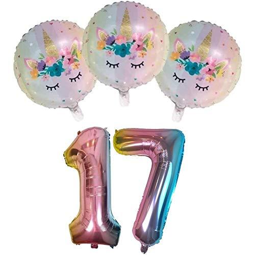 DIWULI, Ballon-Set, XL Luftballon Zahl 17 + 3 Stück Einhorn-Luftballons 17. Geburtstag, Party, Dekoration, Unicorn Folien-Ballons, Zahlen-Ballon Nummer Nr Jahre, Zahlenluftballon, Folien-Luftballon