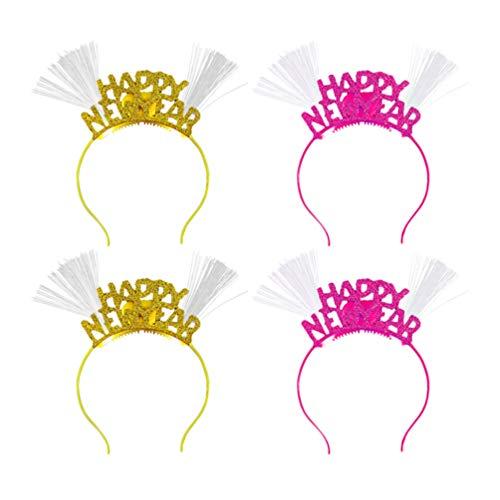 Amosfun 4 Stücke 2021 Neujahr Haarreif mit Licht LED Krone Tiara Silvester Kopfschmuck Haarschmuck Kopfbedeckung Weihnachten Party Deko (Zufällige Farbe)