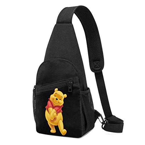 JHUIK Schultertasche Winnie The Pooh Crossbody Sling Rucksack im klassischen Stil Travel Hiking Chest Bag Tagesrucksack für Frauen Männer