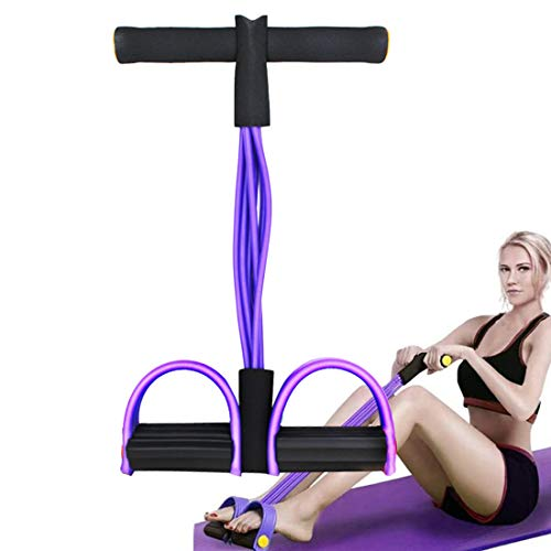 Upgraded 6-Tube Pedal Resistance Band Multifunction Tension Rope Sit-up Pull Rope Exercise Equipment Tension Rope Fitness Bands for Home Workouts