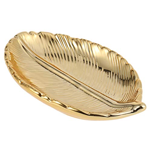 IMIKEYA Gold Leaf Shaped Jewellery Tray Plate Towel Plate Tray Fruit Trays Cosmetic Jewellery Organiser Eaf Dish Ring Holder Soap Tray Dessert Plate