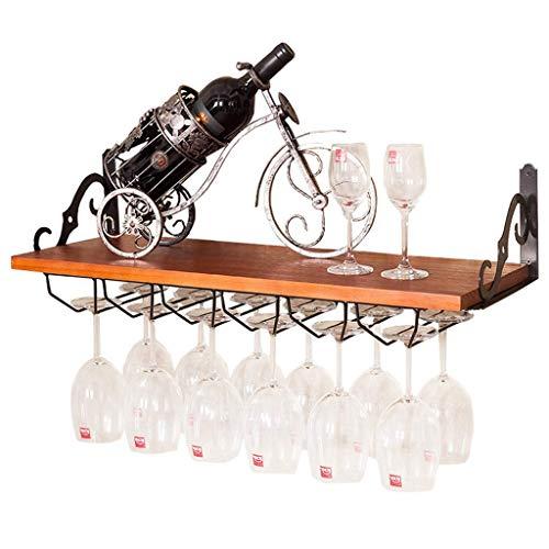 Etagère à bouteille Supports à pied en bois à montage mural Motif Suspendu Porte-Bouteille De Vin Unité De Rangement De Verre De Vin Étagères Flottantes Goblet Organisateur Décoration