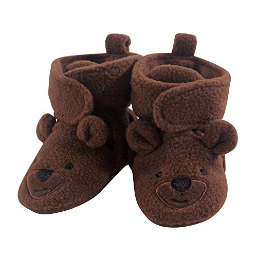 Hudson Baby Unisex Cozy Fleece Booties, Brown Bear, 6-12 Months