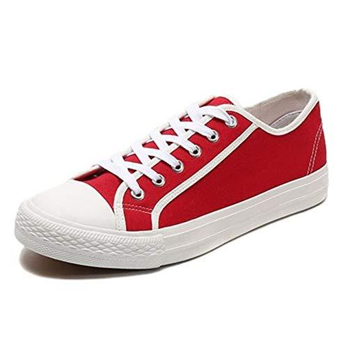 Heren 2019 schoenen Mode Skate Sneakers voor Mannen Casual Walking Sport Schoenen Kant up PU & Canvas Duurzaam Comfortabel Ronde teen Platte hak Draag Resistant Patchwork (Kleur: Rood, Maat : 8 UK)