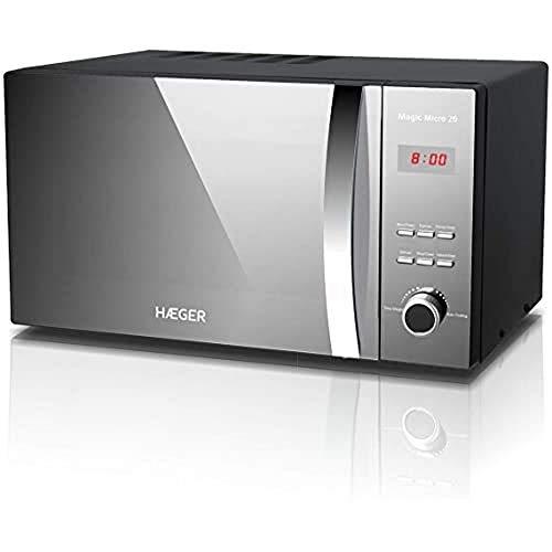HAEGER MAGIC MICRO 26 - Microondas con 800W de potencia, capacidad de 26L - 5 niveles de potencia, función de descongelación, temporizador de 60 minutos, plato giratorio en vidrio de 27 cm