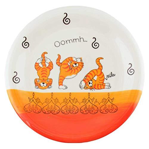 440s Mila Keramik-Teller Oommh Yoga Katze | MI-84212 | 4045303842120