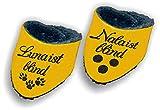 LunaChild Handmade Hundehalstuch für blinde Hunde mit Name Canvas gelb Größe XXS XS S M L XL XXL WUNSCHNAME Wendetuch Halstuch Hund Tuch Name Hundehalstuch personalisiert Geschenk