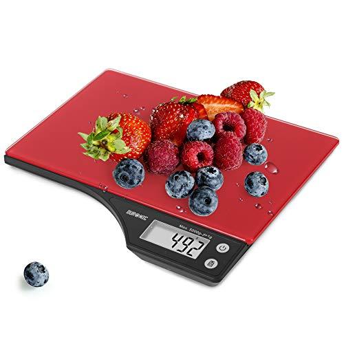 Duronic Ks350 Báscula Cocina Digital 5Kg de Acero Inoxidable Balanza Cocina Peso Cristal Color Negro