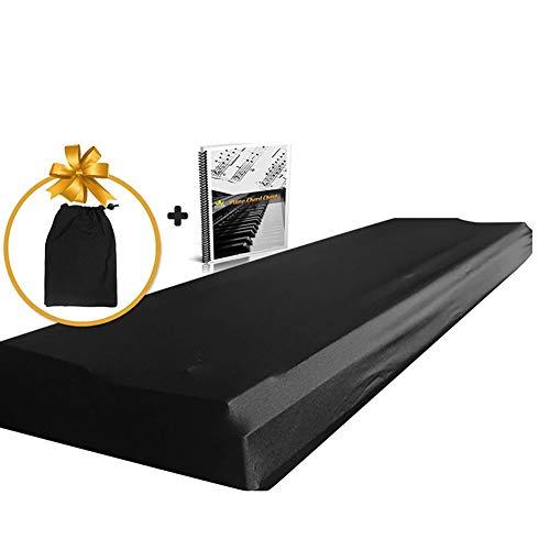 BCGT Piano Keyboard Cover Dust for 61-76 Keys, Piano Chord EBook Fabriquées de lait Détruit/Spandex, Livré avec sac intégré, cordon élastique et verrouillage fermoir, Gardez-le de la poussière et la