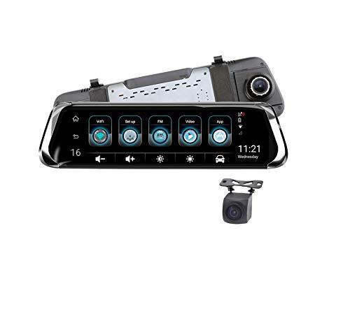 Double Dash Cams avec écran de 10 pouces, 4G Stream Media rétroviseur enregistreur de conduite, 1080p inversion vidéo HD