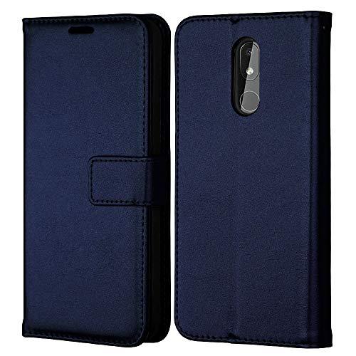 TECHGEAR Leder Hülle Passt Nokia 3.2 - PU Leder Flip Hülle Schutzhülle Ledertasche [Brieftasche] Handyhülle mit Ständer & Handschlaufe Beutel Hülle - Blau
