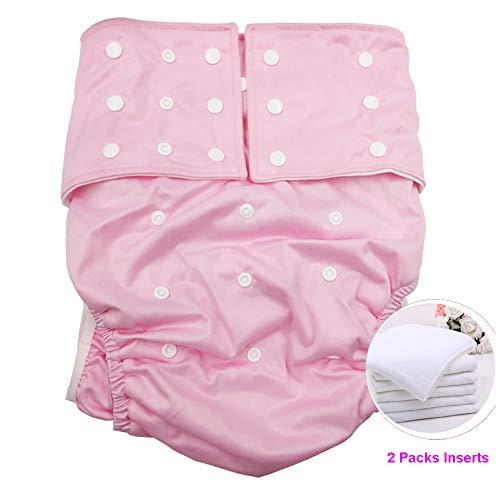 Jolie Diapers ABDL Couche Lavable Adulte Couverture Nappy Réutilisable Lavable Inserts Invalidité Incontinence sous-vêtement avec 2 pcs sous-Tapis,Pink
