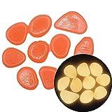 FJFW 200 Piedras Luminosas Pueden Brillar en Rocas oscuras, adecuadas para aceras para familias al Aire Libre, Decoraciones en Maceta Vegetal, etc. Orange red-200