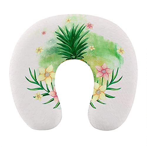 Fashion Soft Memory Foam Reisekissen, U-förmiges Nackenkissen mit waschbarem Bezug unterstützt Nacken- und Schmerzlinderung, Tropische Pflanzen Ananas lustig