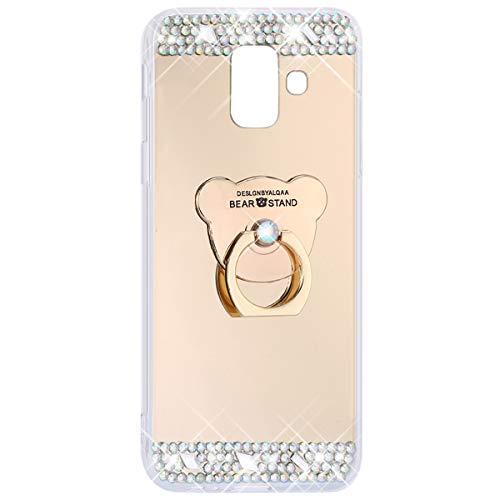 MoreChioce Compatible avec Coque Galaxy A6 2018,Compatible avec Coque Galaxy A6 2018 Silicone 3D, Bling Bling Strass Diamant Blanc Souple TPU Gel Case Bumper,Antidérapant Transparent Protection Case