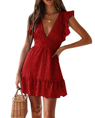 Imily Bela Damen Sommerkleid V Ausschnitt Sexy Blumenmuster Gesmokt Kleid Polka Dot Rüschen Minikleid Volant Kleid