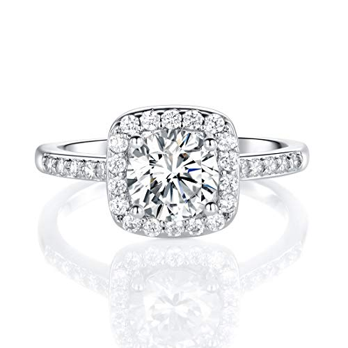 18K White Gold Plated Cubic Zirconia Promise Halo Engagement Promise Eternity Ring for Women (rhodium-plated-brass, 7)